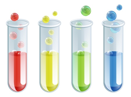 An illustration of four different coloured test tubes with bubbling liquid in them