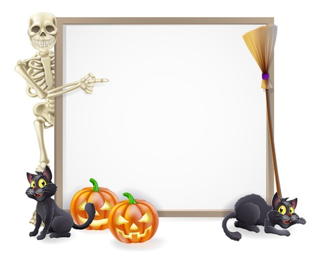 Halloween sign or banner with orange Halloween pumpkins and black witch