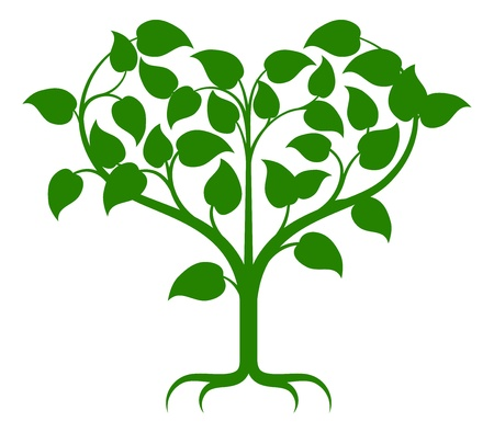 Illustration for Green tree illustration with the branches growing into a heart shape. - Royalty Free Image