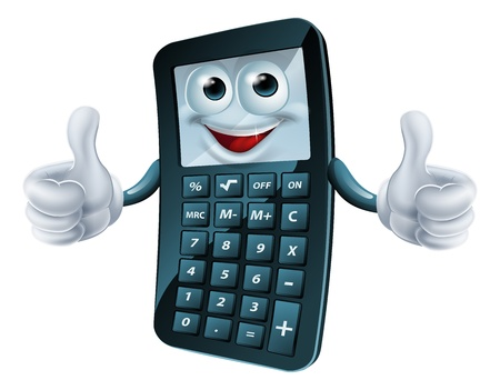 An illustration of a happy cartoon calculator man giving a thumbs up