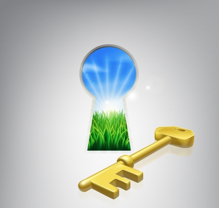 Illustration for Key to happiness conceptual illustration of an idyllic sunrise over fields seen through a keyhole with a golden key.  - Royalty Free Image