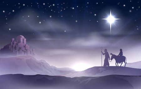 Illustration pour An illustration of Mary and Joseph in the dessert with a donkey on Christmas Eve searching for a place to stay. Bethlehem city in the background. Nativity story illustration. - image libre de droit