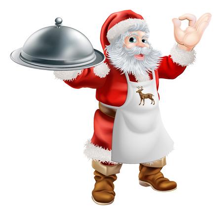 Vektor für Cartoon Santa Claus cooking Christmas dinner food, with Santa in an apron holding a silver platter and doing a perfect gesture - Lizenzfreies Bild