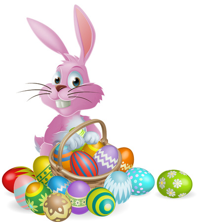 Illustration pour Pink Easter bunny rabbit with Easter eggs basket full of chocolate decorated Easter eggs - image libre de droit