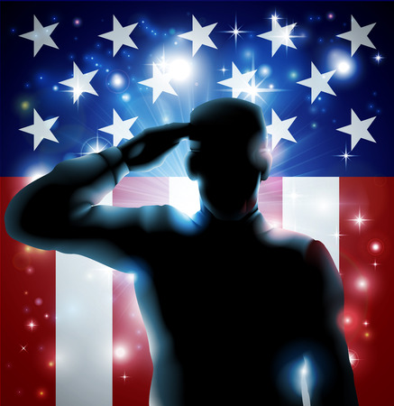 Foto per Patriotic soldier or veteran saluting in front of an American flag background  - Immagine Royalty Free