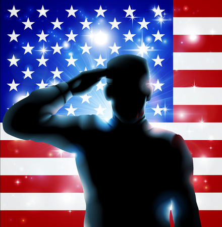 Foto per Patriotic soldier or veteran saluting in front of an American flag Fourth July, Verterans Day or Independence Day illustration  - Immagine Royalty Free
