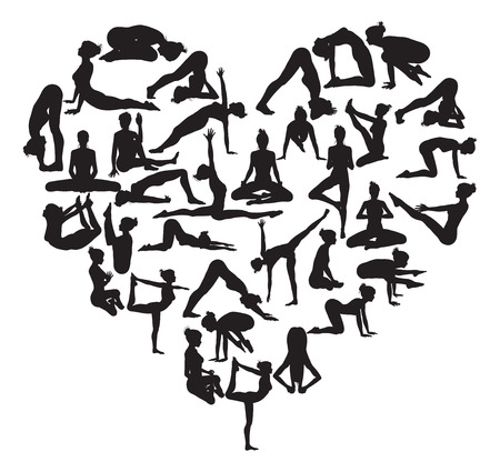 Illustration pour A heart shape made from silhouettes in yoga or pilates poses - image libre de droit