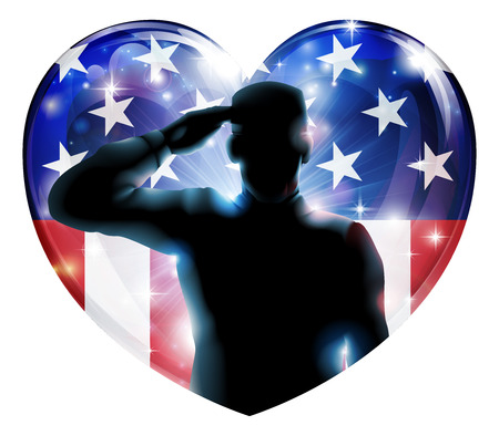 Foto per Illustration of a heart shape Veterans Day or 4th July Independence Day of a soldier saluting in front of American flag  - Immagine Royalty Free