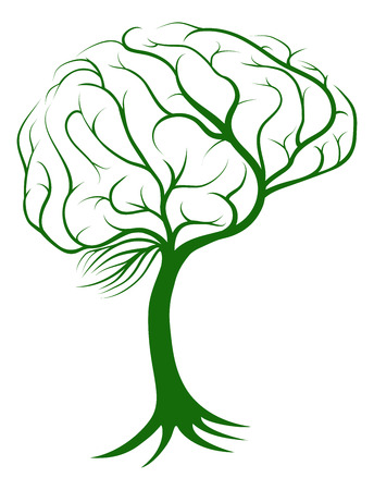 Illustration pour Brain tree concept of a tree with roots growing in the shape of a brain - image libre de droit