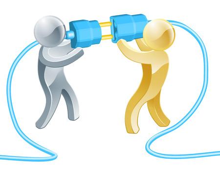 Illustration pour Conceptual illustration of two people connecting a giant plug - image libre de droit