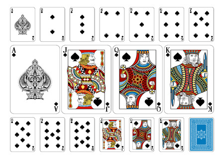 Illustration pour Cards from the Georghiou 14 deck, a beautifully crafted new original playing card deck design. - image libre de droit