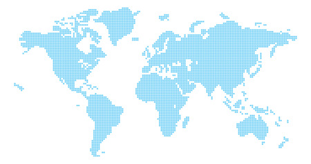 Ilustración de Squares world map illustration of world map made up of square shapes - Imagen libre de derechos