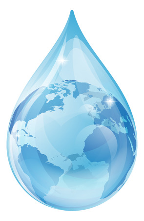 Illustration pour An illustration of a water drop with a globe inside. Water drop earth globe environmental concept - image libre de droit