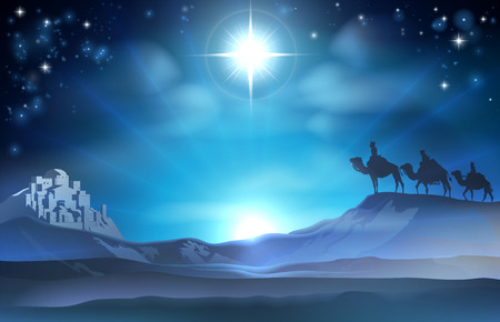 Illustration pour Christmas Christian Nativity scene of the Star and three Wise Men and Bethlehem in the background - image libre de droit