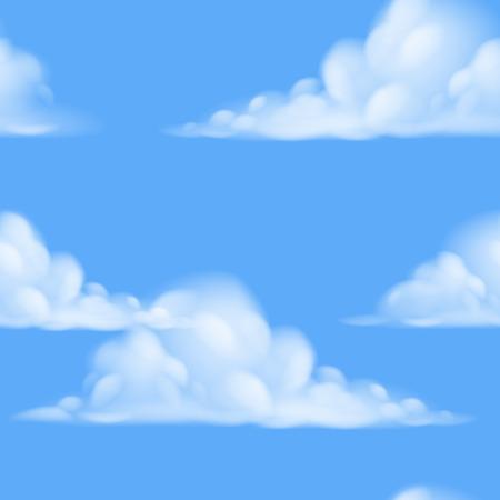 Illustration pour A seamless repeatable tiling cartoon sky background illustration - image libre de droit
