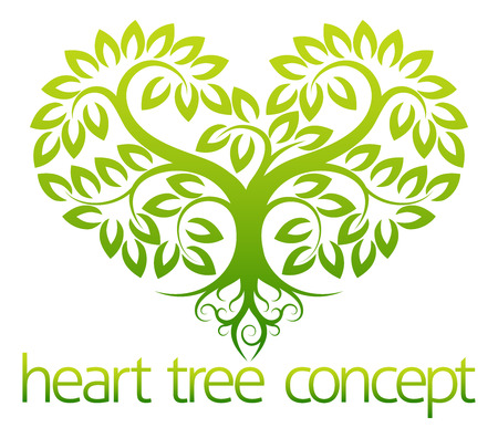 Illustration pour An abstract illustration of a tree growing in the shape of a heart concept design - image libre de droit