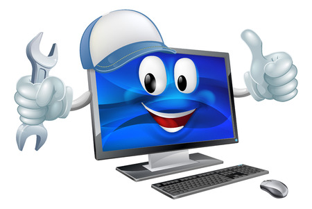 Illustration pour A computer charcter mascot wearing a baseball cap and holding a  spanner while doing a thumbs up - image libre de droit