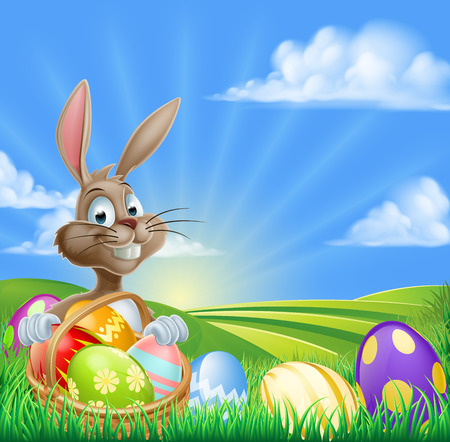 Illustration pour A cartoon Easter Bunny with a basket hamper of Easter eggs in a field with rolling hills - image libre de droit