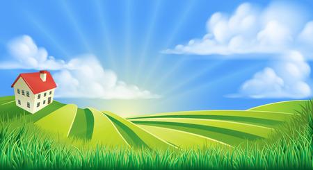 Illustration pour A rolling hills fields farm sunrise background cartoon illustration - image libre de droit