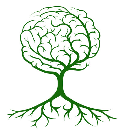 Illustration pour Brain tree concept of a tree growing in the shape of a human brain. Could be a concept for ideas or inspiration - image libre de droit