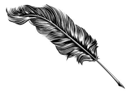 Illustration pour An original illustration of a feather quill pen in a vintage woodblock style - image libre de droit