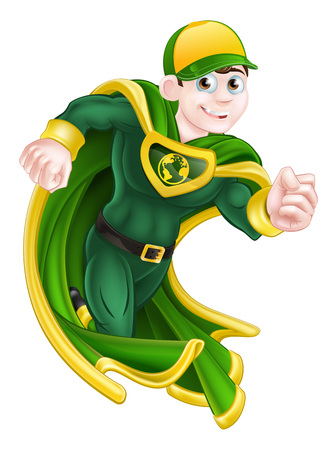 Illustration pour Cartoon super hero character in green and yellow running in a cape and costume and with an earth globe symbol on his chest - image libre de droit