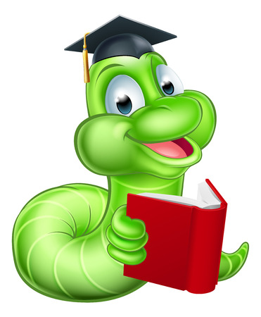 Illustration for Cute smiling green cartoon caterpillar worm bookworm mascot reading a book and wearing mortar board graduation hat - Royalty Free Image