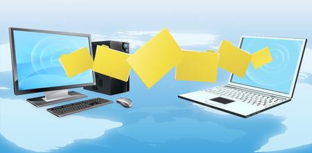 Illustration pour Computer phone file transfer sync concept of files or folders moving between a desktop computer and laptop - image libre de droit