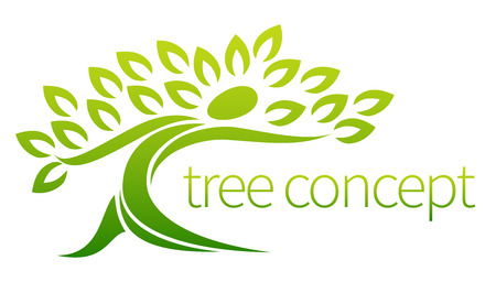Illustration pour Tree person icon, a tree in the shape of a person with leaves, lends itself to being used with text - image libre de droit