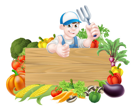 Photo for Vegetable gardener sign. A cartoon gardener  holding a garden fork tool above a wooden sign surrounded by fresh vegetables - Royalty Free Image