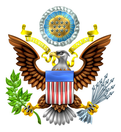Ilustración de The Great Seal of the United States American eagle design with bald eagle holding an olive branch and arrows with American flag shield. With E pluribus unum scroll  and stars glory over his head. - Imagen libre de derechos