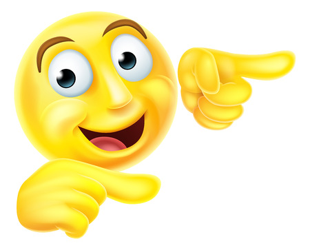 Illustration pour A happy emoji emoticon smiley face character pointing with both hands - image libre de droit