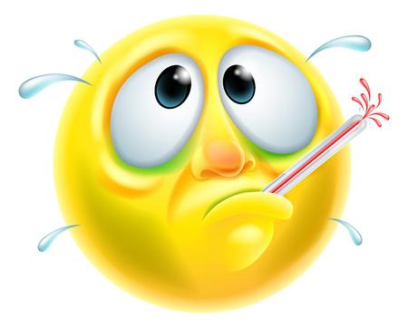 Illustration pour A poorly sick ill looking emoji emoticon character - image libre de droit