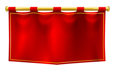 Illustration pour A medieval style red banner flag suspended on a gold pole - image libre de droit
