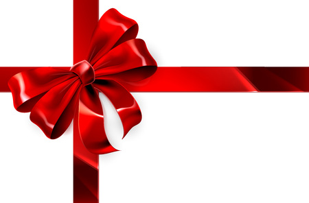 Illustration for A red ribbon and bow from a Christmas, birthday or other gift wrapping design element - Royalty Free Image