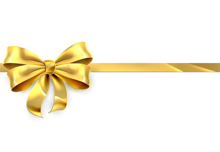 Illustration pour A gold ribbon and bow design element from a Christmas, birthday or other gift or present - image libre de droit