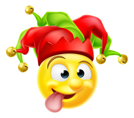 Illustration for A cartoon court jester clown emoji emoticon character pulling  a funny face - Royalty Free Image