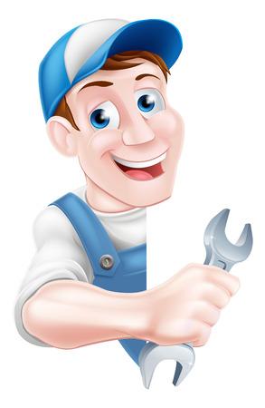 Ilustración de Cartoon mechanic or plumber service handyman worker man holding a spanner leaning around a sign - Imagen libre de derechos