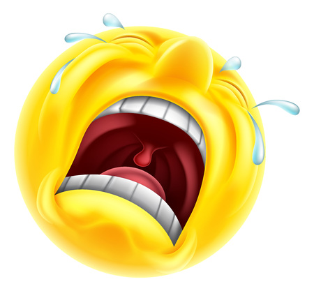 Illustration for A very upset sad crying emoji emoticon smiley face character with tears shooting out - Royalty Free Image