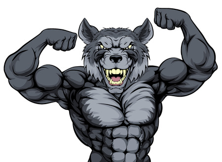 Wolf sports mascot showing off his biceps and ready for a fight