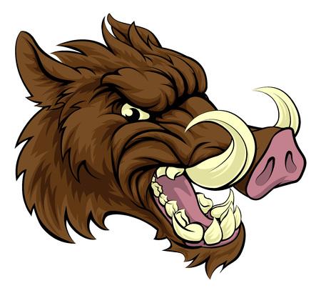 Illustration pour A boar razorback sports mascot character - image libre de droit