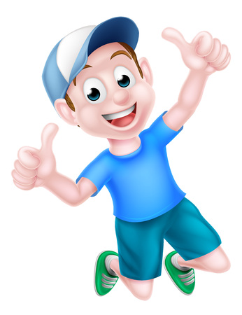 Illustration pour A happy cartoon boy child in a baseball cap jumping for joy and giving a thumbs up. - image libre de droit