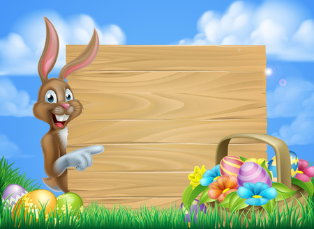 Ilustración de Cartoon easter background of Easter bunny and Easter basket full of decorated chocolate Easter eggs and a big sign - Imagen libre de derechos