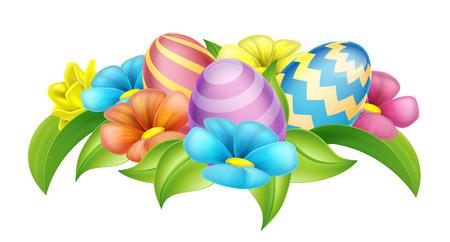 Ilustración de Easter eggs and spring flowers cartoon design element - Imagen libre de derechos