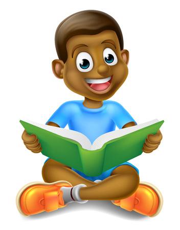 Illustration for A cartoon little black boy sitting crossed legged enjoying reading a book - Royalty Free Image