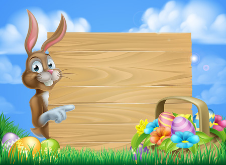 Illustration pour Cartoon Easter bunny and Easter basket full of Easter eggs background - image libre de droit