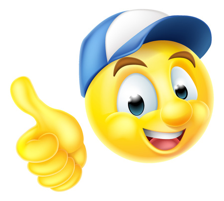 Illustration for Cartoon emoji emoticon smiley face character wearing a workers cap and giving a thumbs up - Royalty Free Image