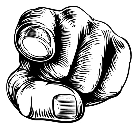 Illustration pour Woodcut vintage style hand pointing a finger at you in a wants you or needs you gesture - image libre de droit