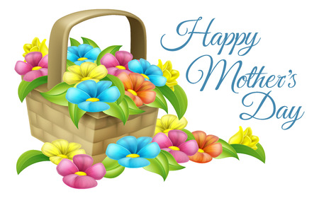 Illustration for A beautiful floral gift basket full of flowers with text reading Happy Mothers Day - Royalty Free Image