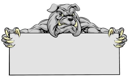 Illustration pour A mean looking bulldog mascot holding a sign - image libre de droit